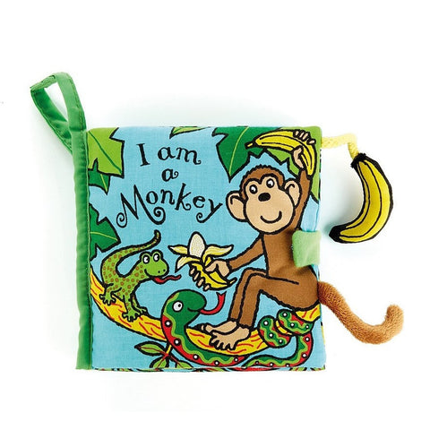 Jellycat I am a Monkey Activity Soft Book- - Anglo Dutch Pools & Toys  - 1