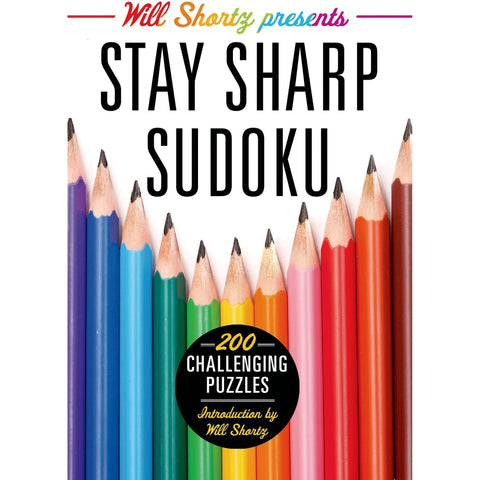 Will Shortz Presents Stay Sharp Sudoku: 200 Challenging Puzzles Book- - Anglo Dutch Pools & Toys  - 1
