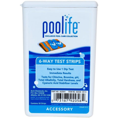 Testing Kits And Strips - Poolife 6-Way Test Strips (50 Count)