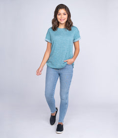 Terry Comfy Tee - Dusty Turquoise