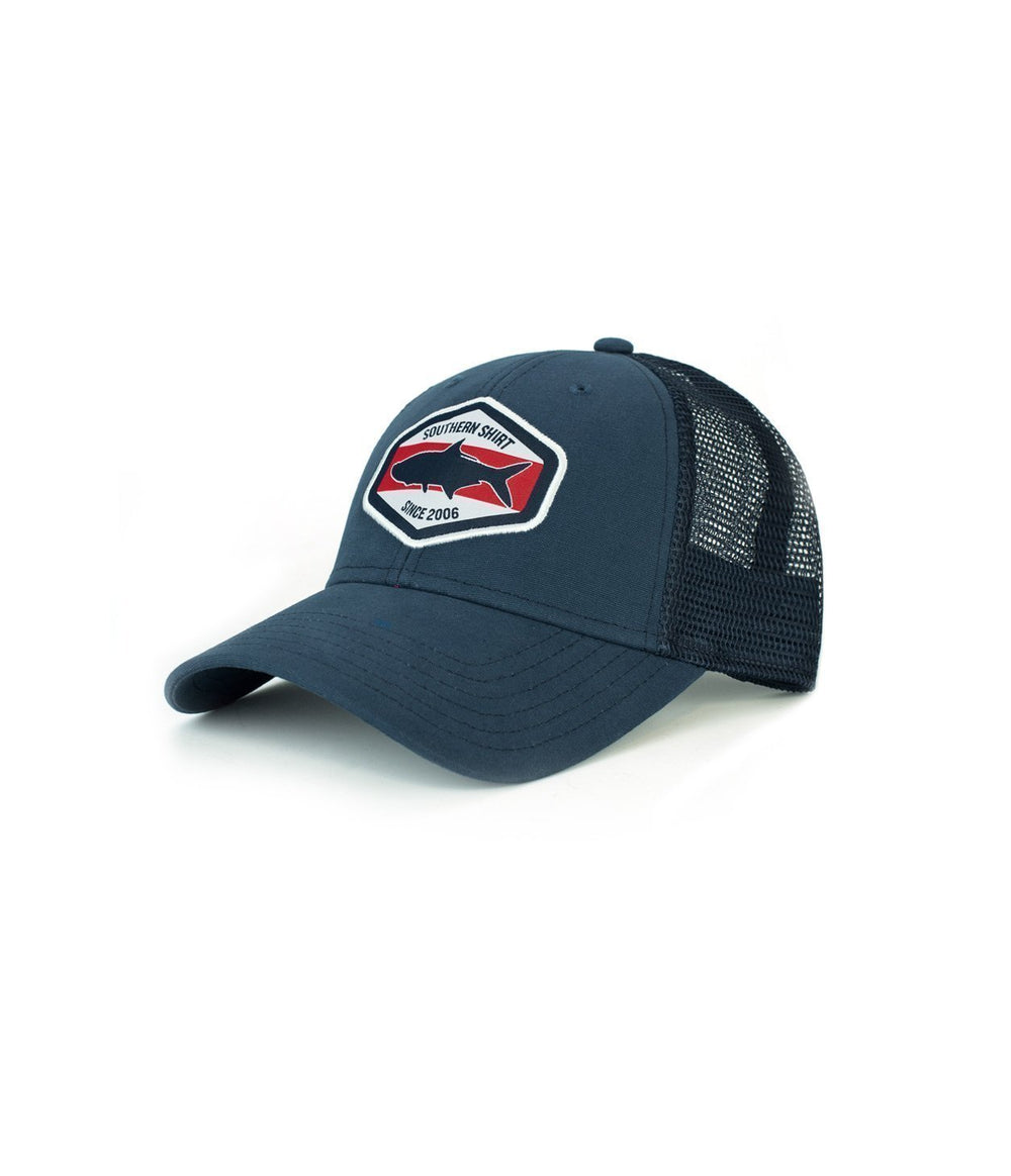 Tarpon Badge Trucker Hat - Navy