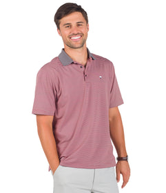 Belmont Stripe Polo - Crimson Grey