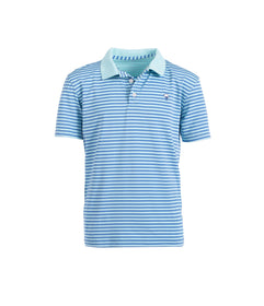 Boys Hilton Stripe Polo - Ocean Breeze