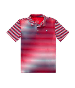 Boys Hudson Stripe Polo - Cardinal