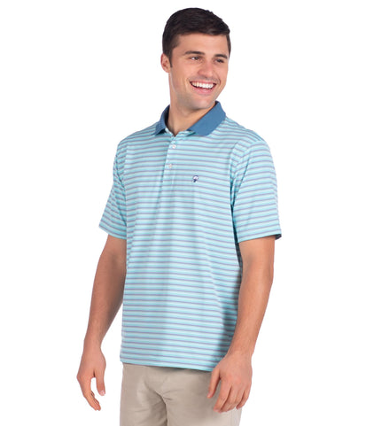 Brunswick Stripe Polo - Emerald Cove
