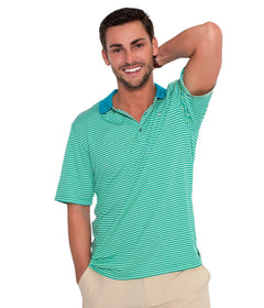 Charleston Stripe Polo - Paradise Green