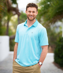 Folly Beach Pique Polo - Scuba Teal