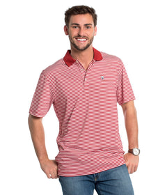 Peabody Stripe Polo - University Red
