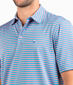 Perdido Stripe Polo - Blue Flamingo