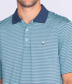 Vicksburg Stripe Polo - Jade Blue