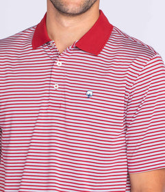 Vicksburg Stripe Polo - University Red