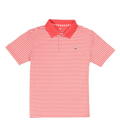 Youth Peabody Stripe Polo - Fire Coral