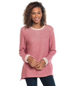 Arrow Stitch Pullover - Holly Berry