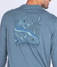 Blockprint Redfish Tee LS - Ozark