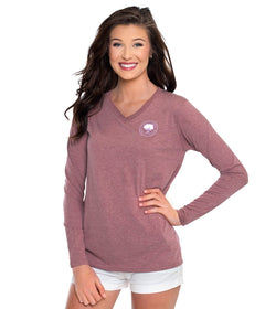 Heather Vneck Tee LS - Hawthorn Rose