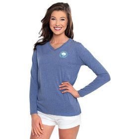 Heather Vneck Tee LS - Periwinkle