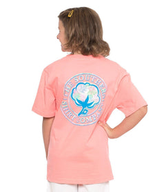 Youth Palm Print Logo Tee SS - Conch Shell