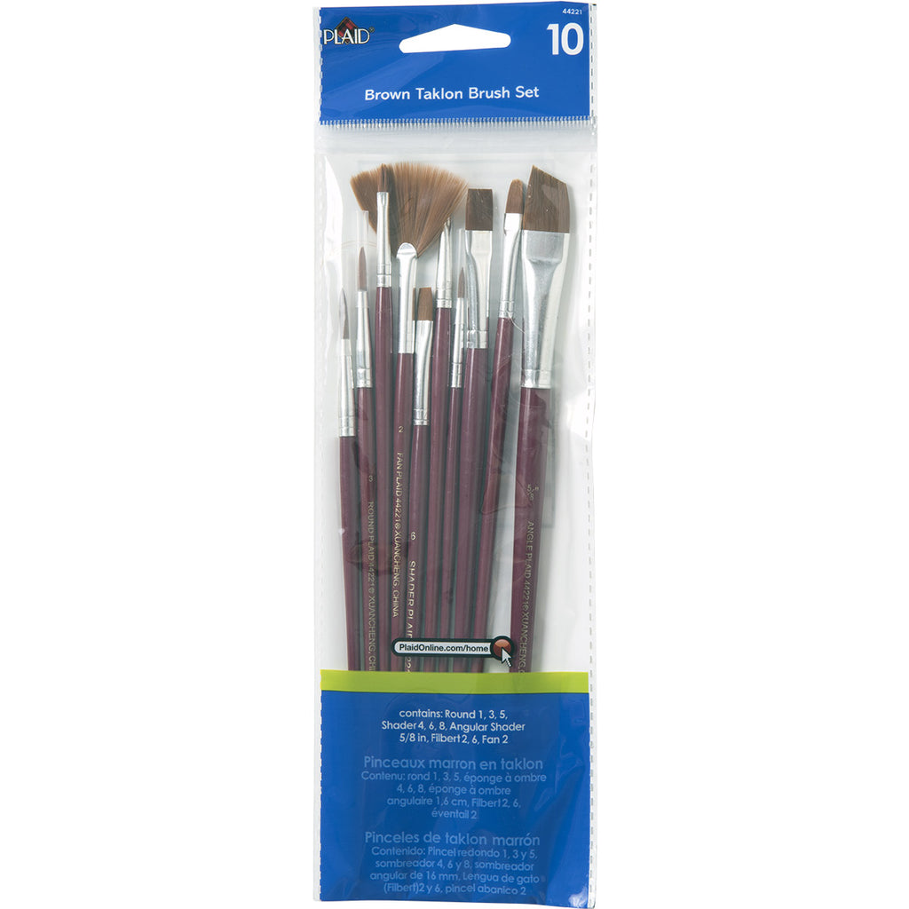 Plaid Brown Taklon Brush Set