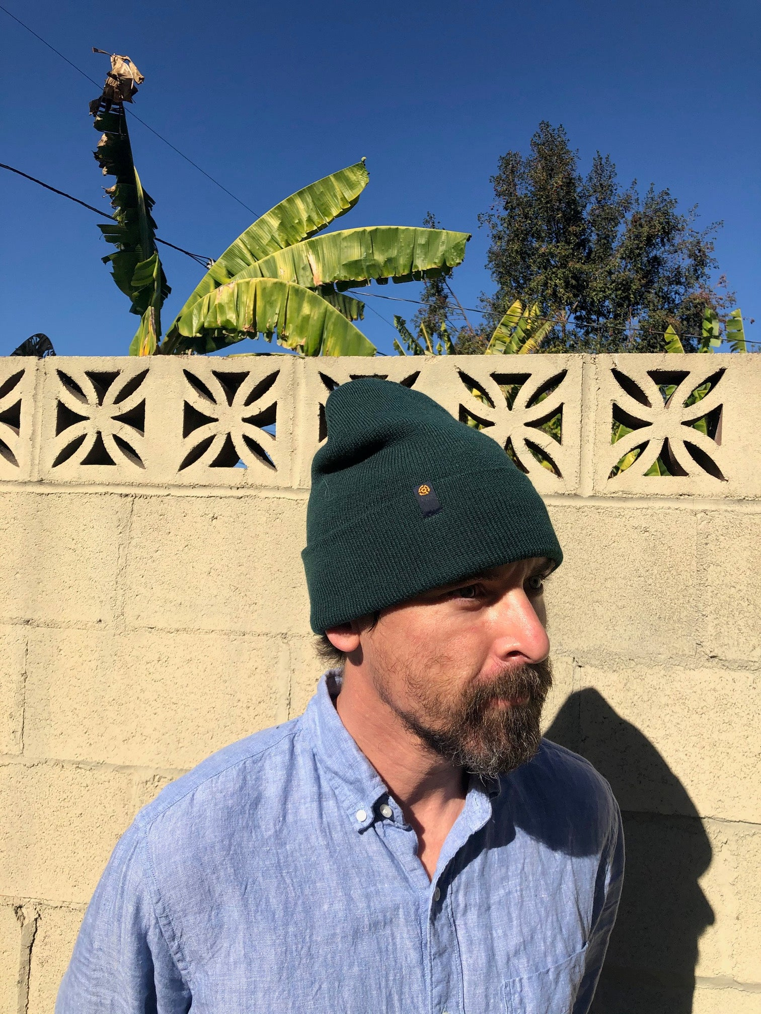 45 Label Beanie - Forest Green
