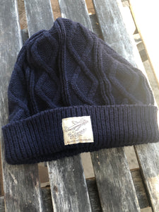 """All Weather Traveler"" Cable Knit Beanie - Navy"