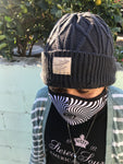 "All Weather Traveler"" Cable Knit Beanie -Charcoal"