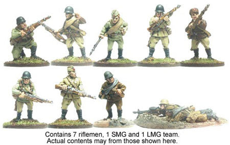 Russian Squad (10)<br><EOL>Squad contains 7 different Riflemen, 1 SMG and 1 LMG team