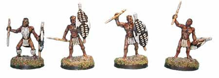 Unmarried Zulu Warriors with Assegais (4)