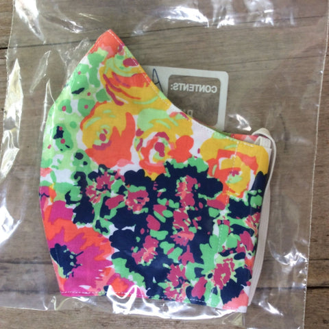 Adult_Teen Face Mask by Kaydee's Keepers-Abstract Rose Neon Floral