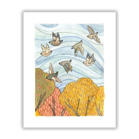 Autumn Birds Flying 8 x 10 by Katie Eberts