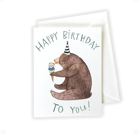 Birthday Bear Card by Katie Eberts Illustration