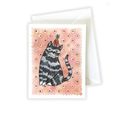 Cat in a Party Hat Birthday Card by Katie Eberts Illustration