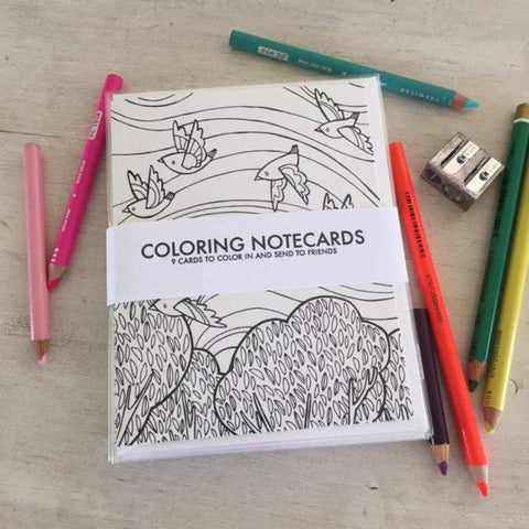Coloring Notecards by Katie Eberts Illustration