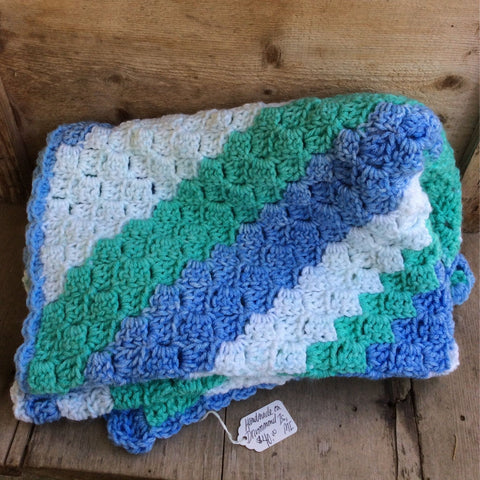 Crocheted Blanket turquoise-blue-green