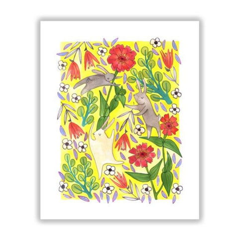 Dancing Bunnies on Yellow 8x10 Print by Katie Eberts Illustration