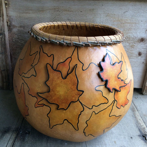 Gourd with Maple Leaves and Pine Needle Rim - Split Birch Studio
