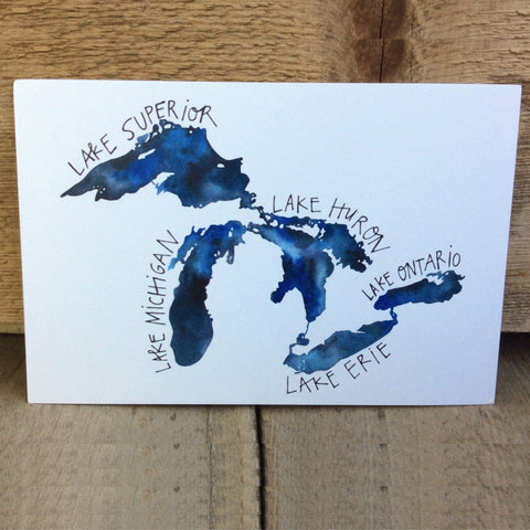 Great Lakes Postcard by Katie Eberts Illustration - Front