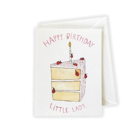 Happy Birthday Little Lady Cake Card by Katie Eberts Illustration