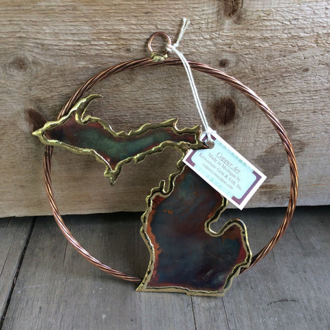 Keweenaw Michigan Copper Art Ornament - Large Circle