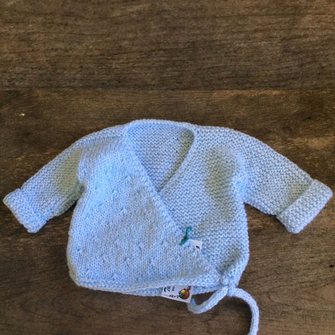 Kimono Baby Sweater by The Scrappy Knitter-Blue