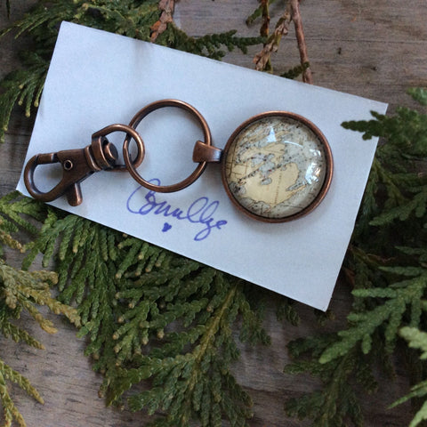 Les Cheneaux Map Key Fob by Gigi Mallory-Aged copper hardware