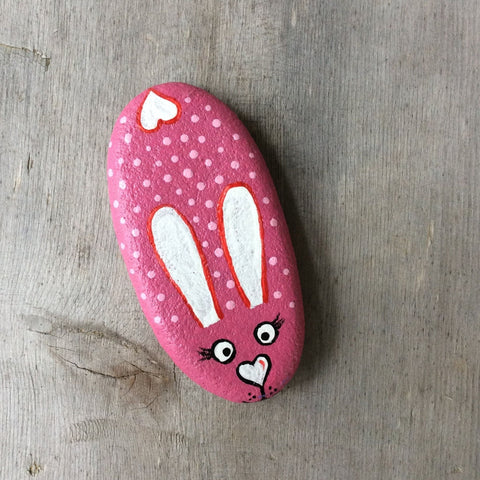 Painted Rock - Pink Heart Bunny - by Connie Thompson