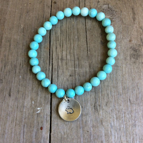 Semi- Precious Stone Bracelet with Hand Stamped Charms by MMK Designs-Bunny Howlit