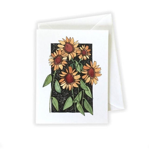 Sunflowers on Black Card by Katie Eberts Illustration