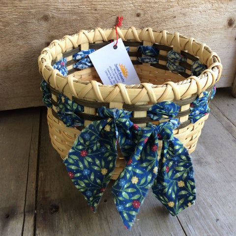 Tabletop Basket Woven with Cloth Strips by Sunset Basketry