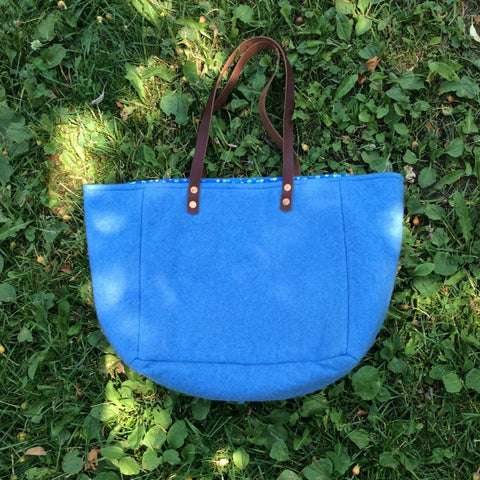 Upcycled Wool Totes with Leather Handles-Blue with Brown Leather Handles