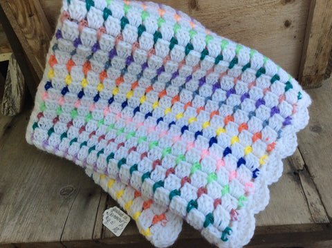Crocheted colorful blanket