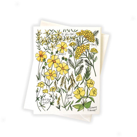 Yellow Wildflowers Card by Katie Eberts Illustration