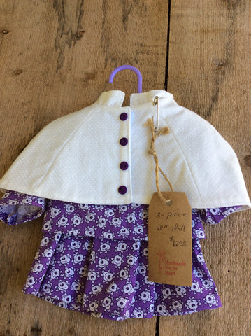 Doll Outfit: Purple Skirt and Shirt Set with White Poncho