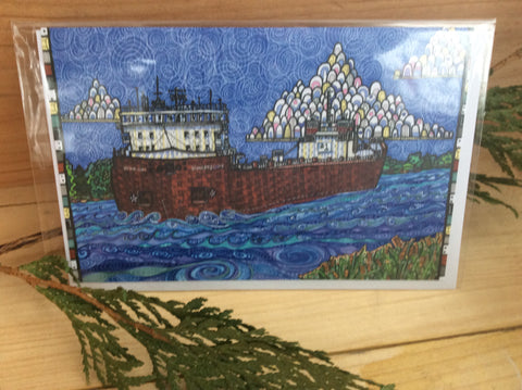 Great Lakes Freighter-Stewart J. Cort Card by S. A. Johnson Creations