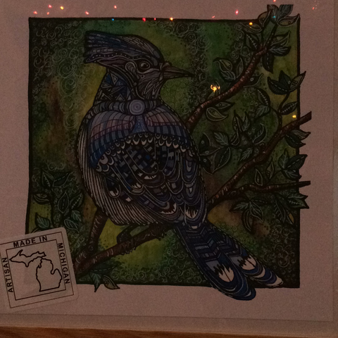 Blue bird Print by S.A. Johnson 8x8